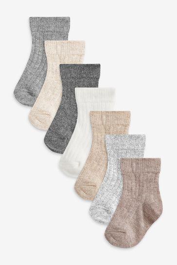 7 Pack Rib Socks (Newborn)