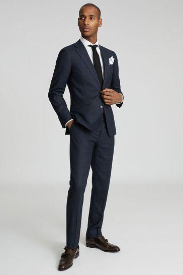 Reiss Navy Dunn Textured Slim Fit Blazer