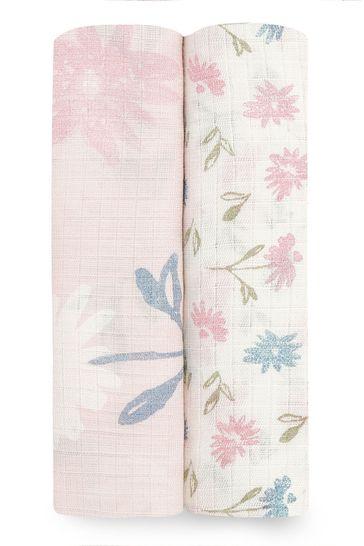 Aden + Anais Essentials Silky Soft 2 Pack Swaddle Blanket Vintage Floral