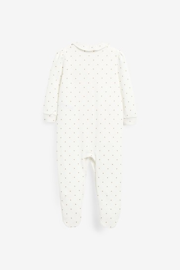 Rust Floral 3 Pack Embroidered Detail Sleepsuits (0-3yrs)