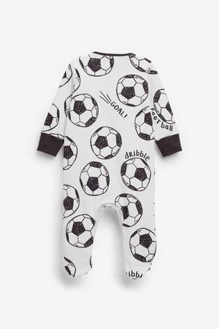 Football Print Single Sleepsuit (0mths-2yrs)
