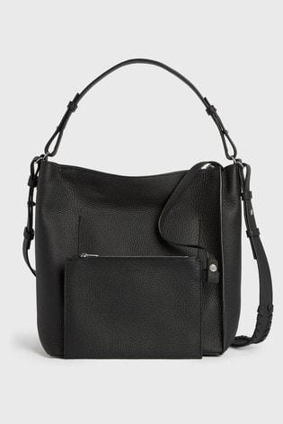 AllSaints Black Kita Leather Cross Body Bag