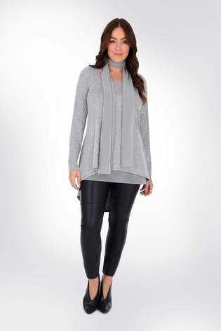 Live Unlimited Curve Grey Overlayer Tunic With Tie Detail