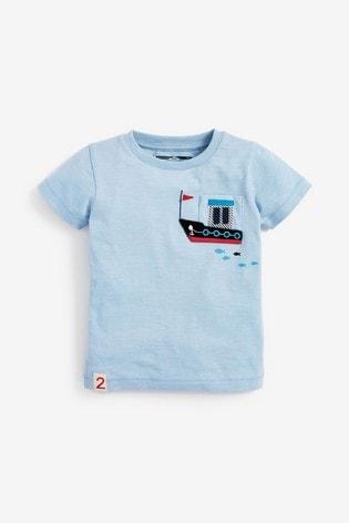 Blue Boat Pocket T-Shirt (3mths-7yrs)