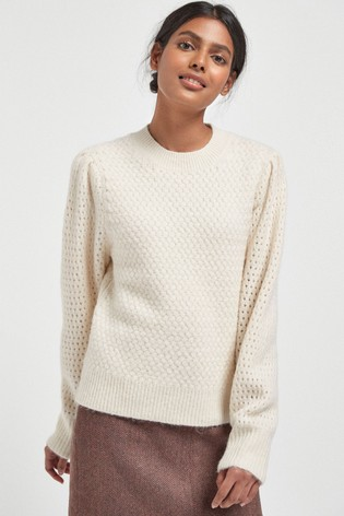 Cream Soft Textured Jumper