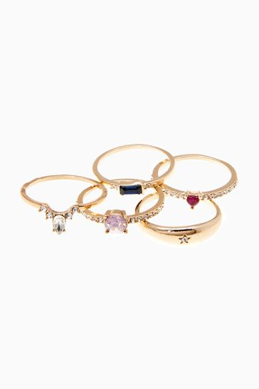 Gold Tone Coloured Stone Stacking Ring Pack
