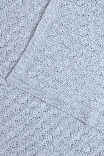 Blue Pointelle Blanket (Newborn)