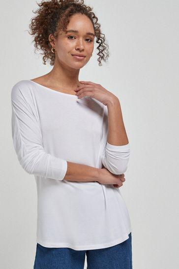 White Dolman Long Sleeve Top