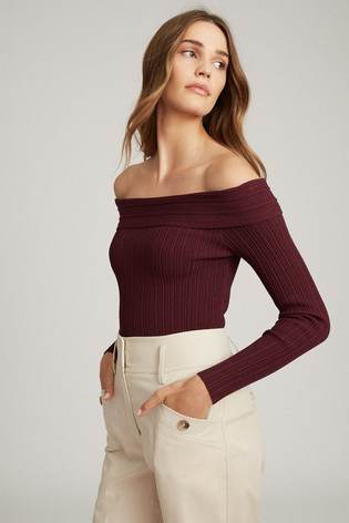 Reiss Berry Tate Knitted Bardot Top