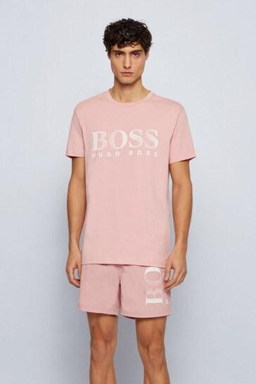 BOSS Pink Regular Fit Logo T-Shirt