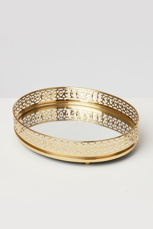 Oliver Bonas Mirror Base Gold Oval Perfume Tray