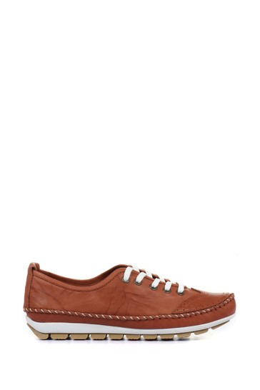 Pavers Tan Ladies Leather Lace-Up Trainers
