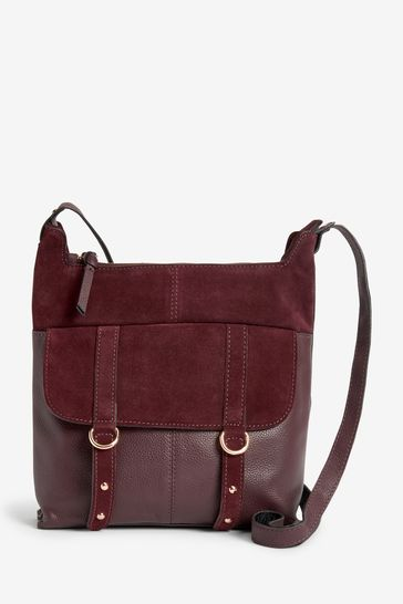 Berry Red Leather Messenger Bag