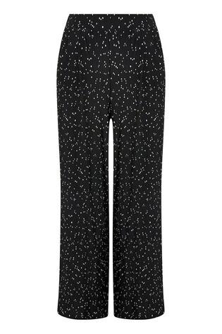 Monsoon Black Poppy Spot Print Plisse Trousers