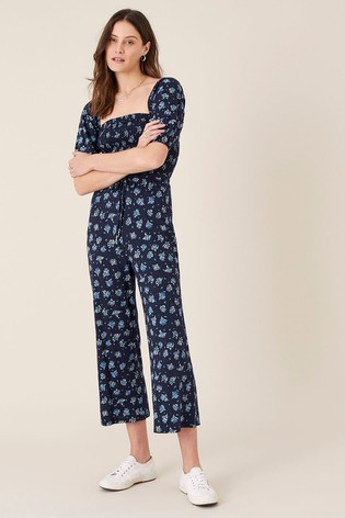 Monsoon Blue Floss Printed Jumpsuit With Organic Cotton