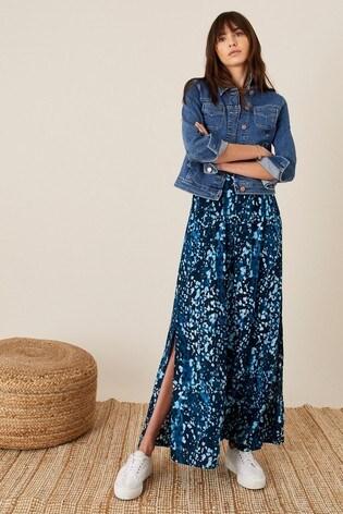 Monsoon Blue Animal Print Bandeau Dress