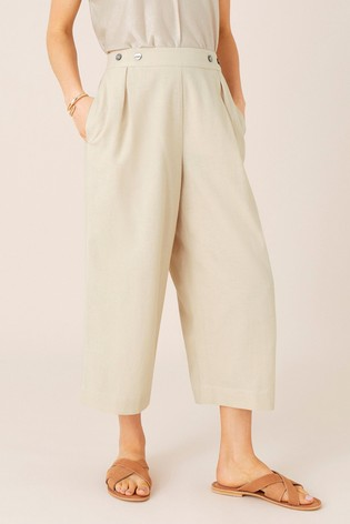 Monsoon Natural Cropped Trousers In Linen Blend