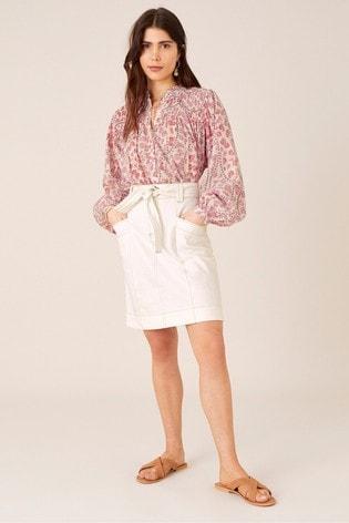 Monsoon Natural Belted Denim Skirt In Organic Cotton