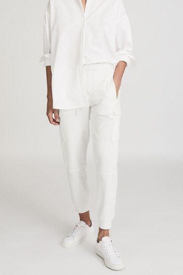 Reiss White Bernice Loungewear Cargo Joggers