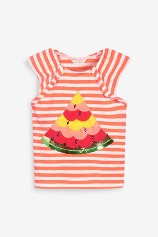 Monsoon Orange Sequin Watermelon Stripe Top