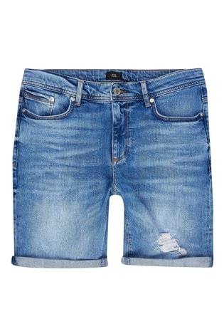 River Island Blue Medium Skinny Fargo Ripped Shorts