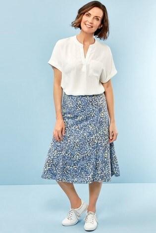 Spirit Blue Floral Midi Skirt