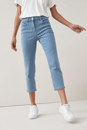 Light Blue Stripe Cropped Straight Jeans
