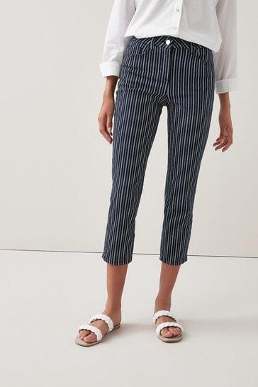 Dark Blue Stripe Cropped Straight Jeans