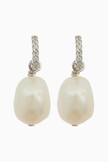 Sterling Silver Crystal Pave Freshwater Pearl Earrings