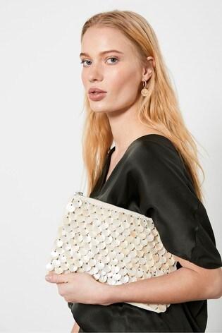 Mint Velvet Cream Lucie Beige Shell Beaded Clutch Bag