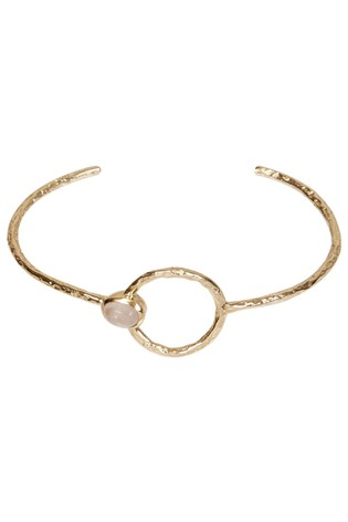 Oliver Bonas Hythe Oval Stone & Textured Detail Gold Plated Bangle