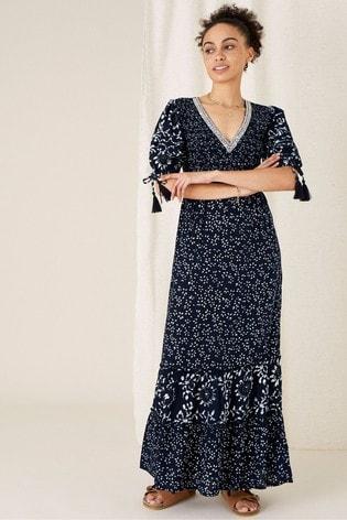 Monsoon Blue Contrast Print Tiered Dress