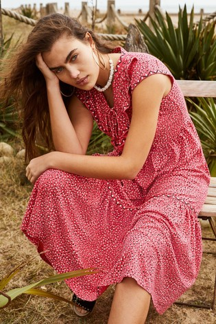 Monsoon Red Mona Printed Jersey Midi Dress