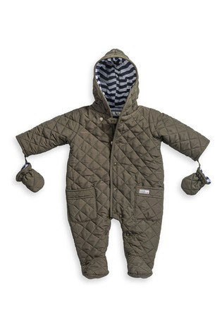 The Essential One Khaki Baby Quilted Pramsuit