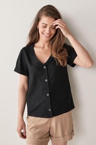 Black Linen Blend Button Through Top