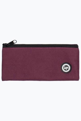 Hype. Burgundy Crest Flat Pencil Case