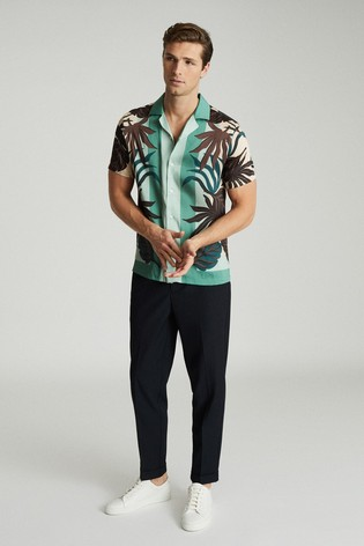 Reiss Green Patois Printed Cuban Collar Shirt