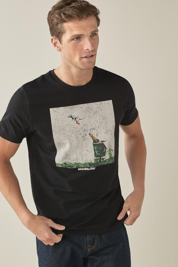 Black Banksy Rat Licence T-Shirt