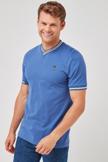 Blue V-Neck Turtle Neck T-Shirt