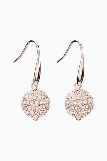 Rose Gold Tone Pave Ball Drop Earrings