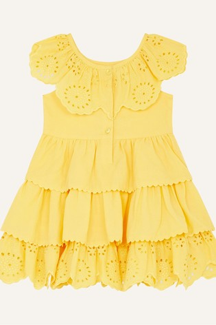 Monsoon Yellow Baby Broderie Frill Dress