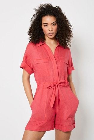 Mint Velvet Pink Pocket Linen Playsuit