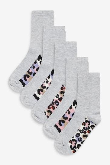 Grey Animal Print Footbed Ankle Socks 5 Pack