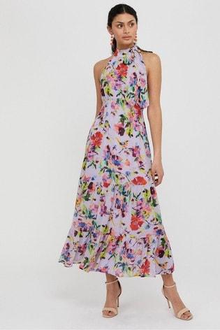 Monsoon Purple Helen Dealtry Brynn Floral Midaxi Dress