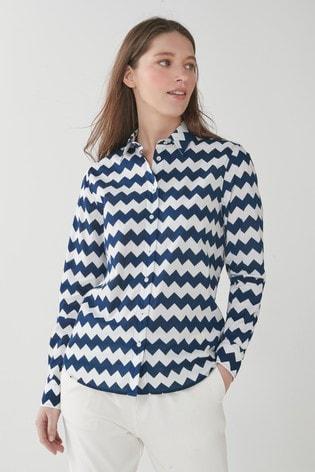 GANT Blue Zig Zag Print Cotton Voile Shirt