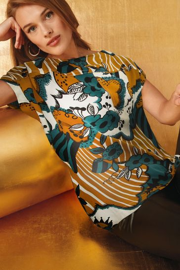 Celia Birtwell Ochre Floral Boxy T-Shirt