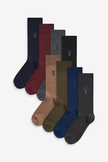 Multi 8 Pack Embroidered Stag Socks
