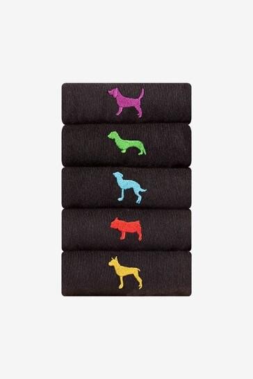Black Dogs 5 Pack Embroidered Socks