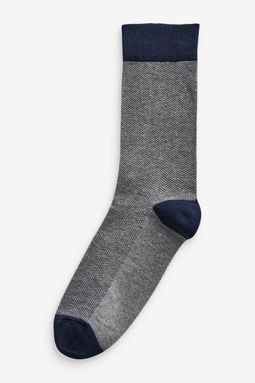 Navy/Grey Pattern 7 Pack Socks