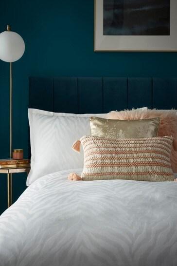Tess Daly White Zebra Duvet Cover and Pillowcase Set